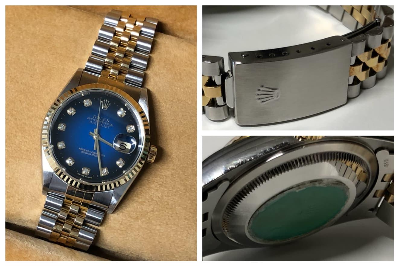 new product de619 e7ac0 腕時計「ロレックス デイトジャスト 16233G ブルーグラデーション ...